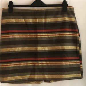 Banana Republic gold, tan, red striped mini skirt